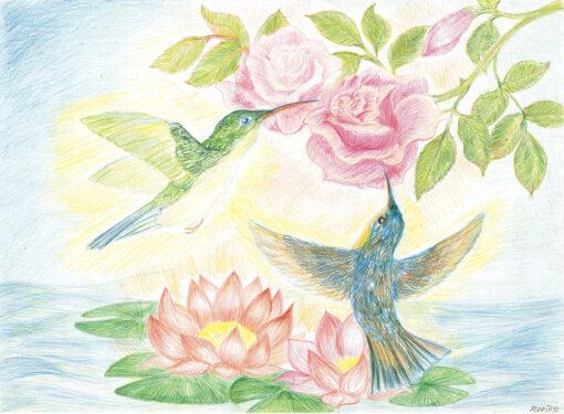 Painting of Bird Lotus by Noriko Moonbird
