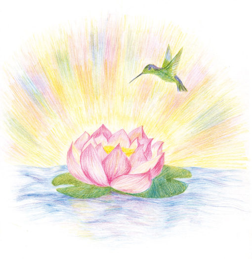 Painting of Lotus Hummingbird by Noriko Moonbird