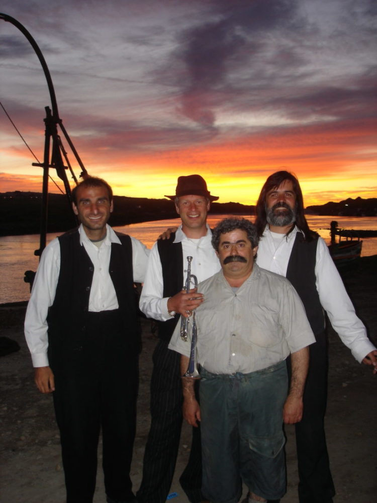 Adrian Freedman with Michalis, Efxifios and Yiorgos in Nicosia. Photo: Steve Tanner