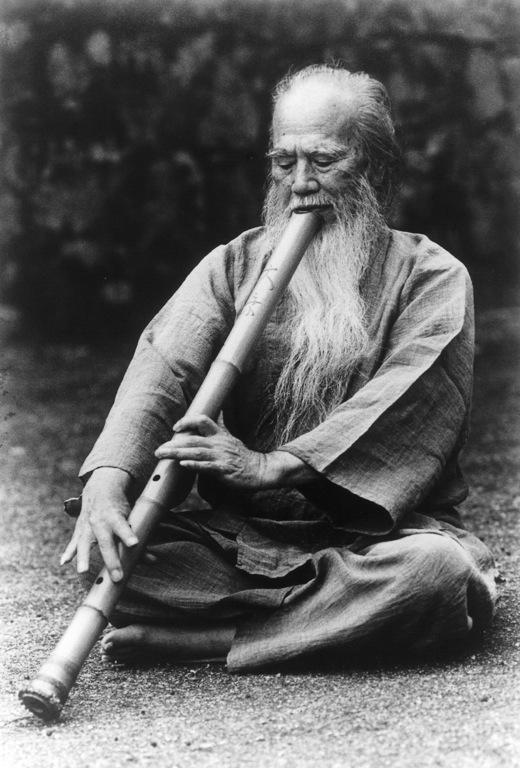Kokū Nishimura with shakuhachi, 1915 - 2002