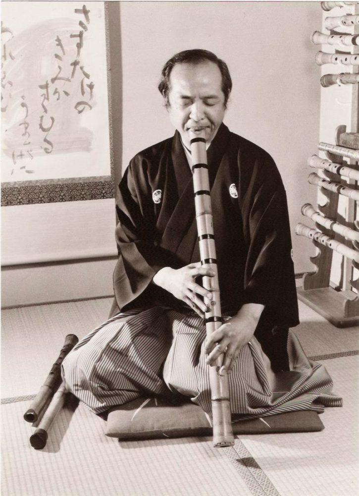 Yokoyama Katsuya with shakuhachi, 1934 - 2010