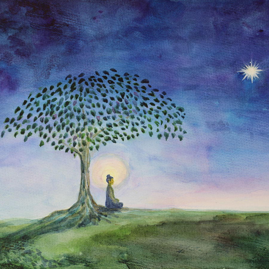 Buddha Bodhi Tree painting by Noriko Moonlight Projects