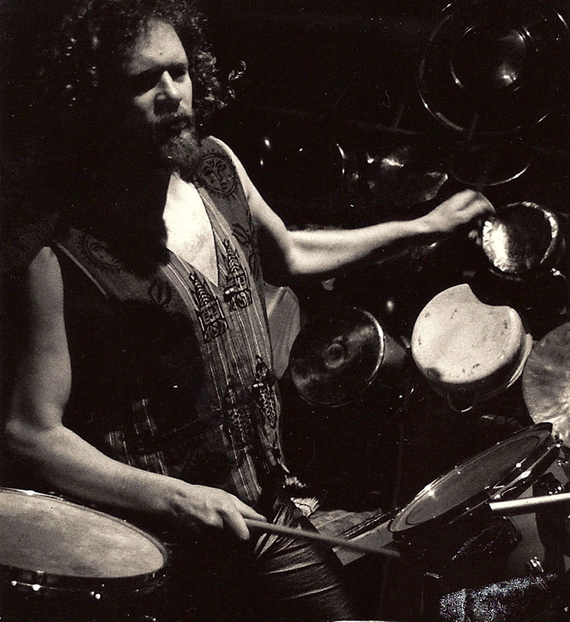 Aerial shot of Adrian Freedman playing drums in Odin