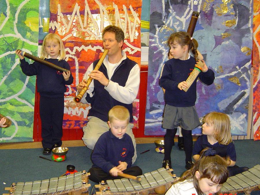 Adrian Freedman making music with children in Cornwall