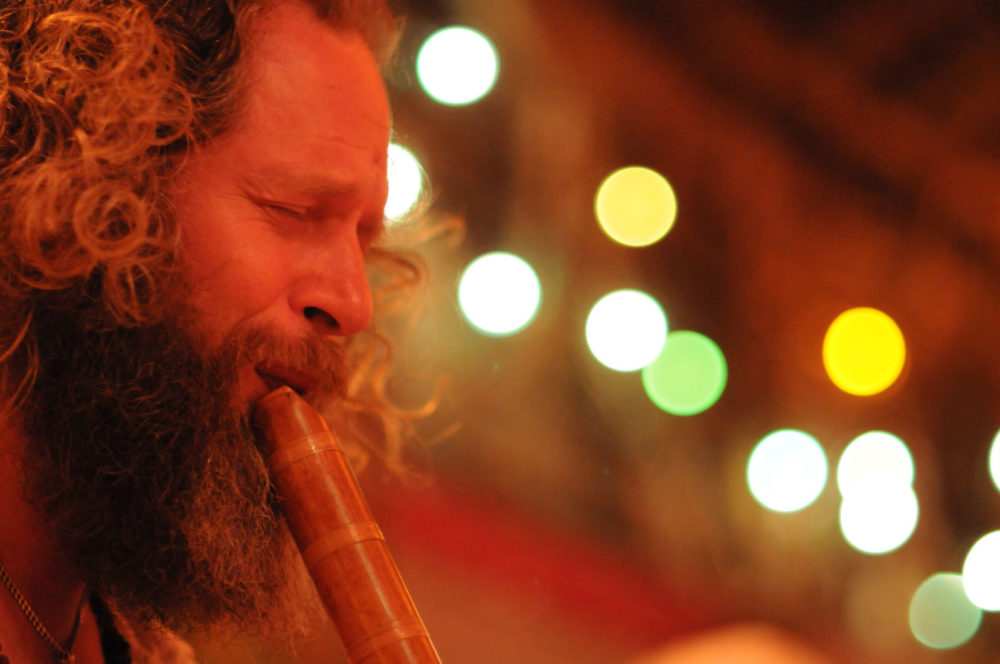 Adrian Freedman playing healing shakuhachi in Arunachala