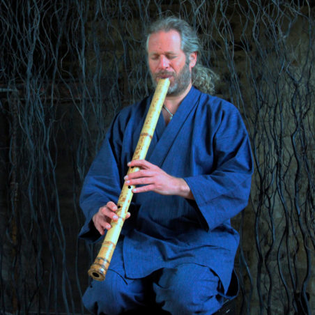 Adrian Freedman plays shakuhachi at Dartington Hall.
