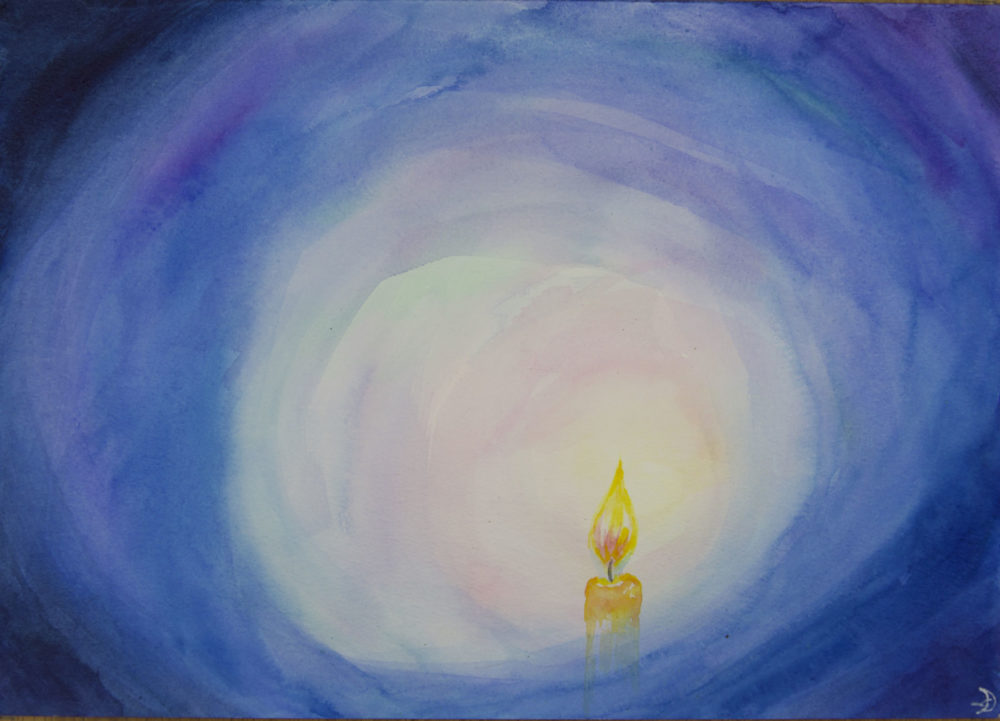 Painting of Blue Candle by Noriko Moonbird