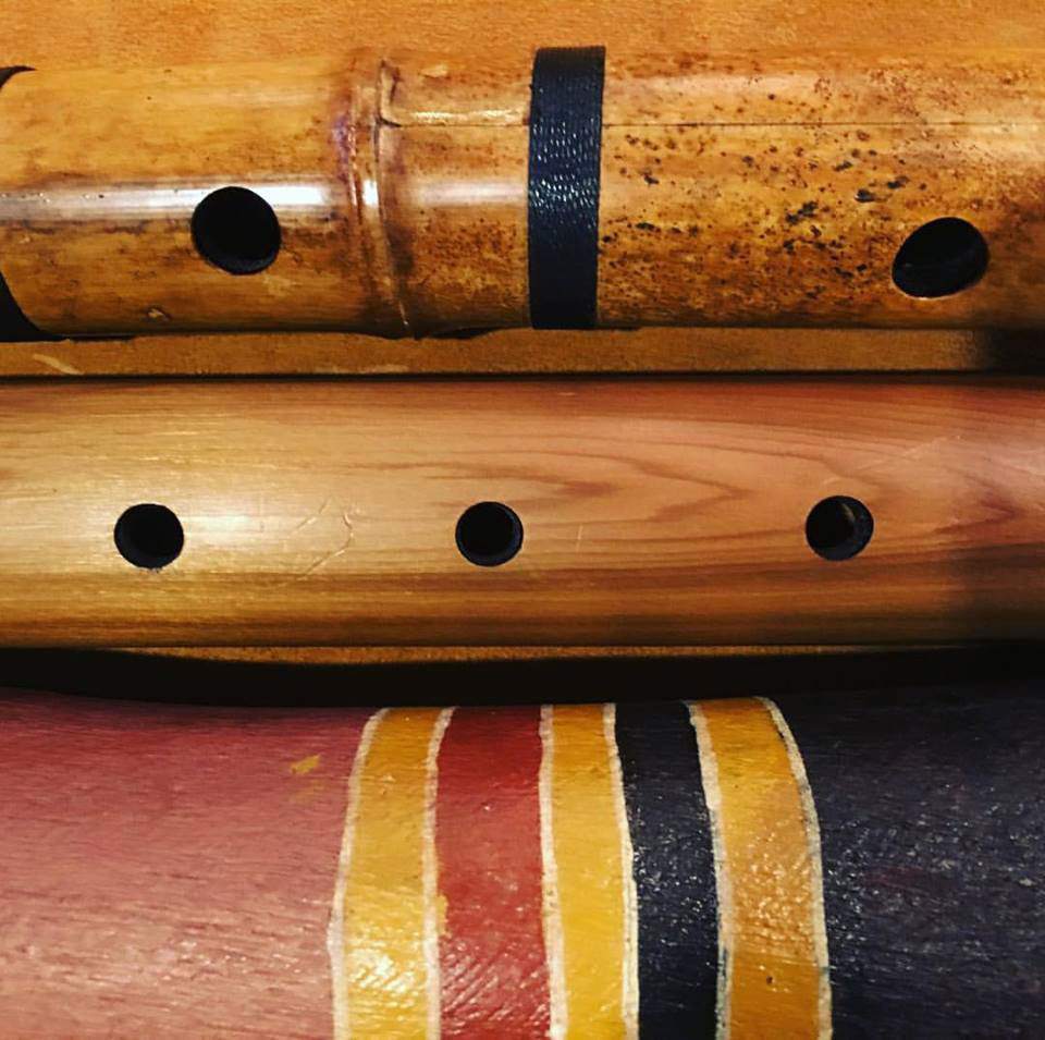 Shakuachi, didgeridoo and native american Indian flute. Image supplied by the musician.