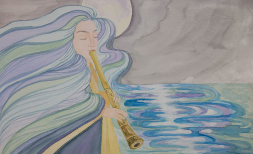Flute Player paiting by Noriko Moonbird Projects