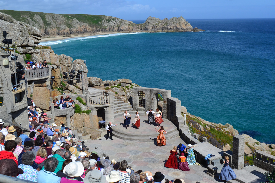Open air theatre with beach on background Cornwall