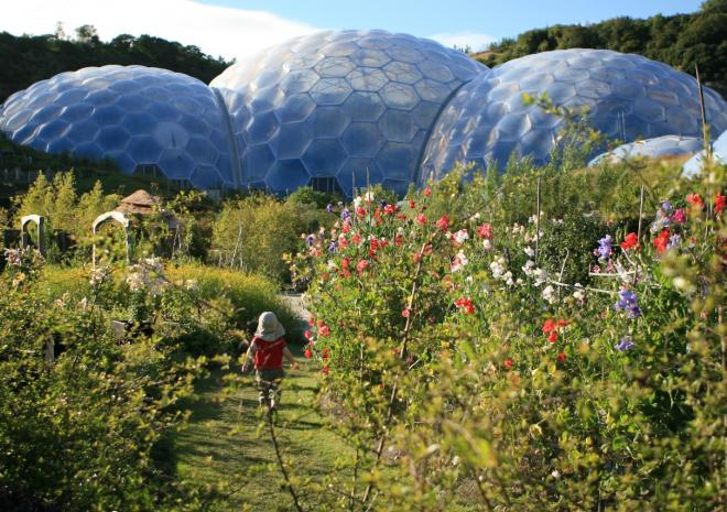 Outdoor Domes with flowers and kid