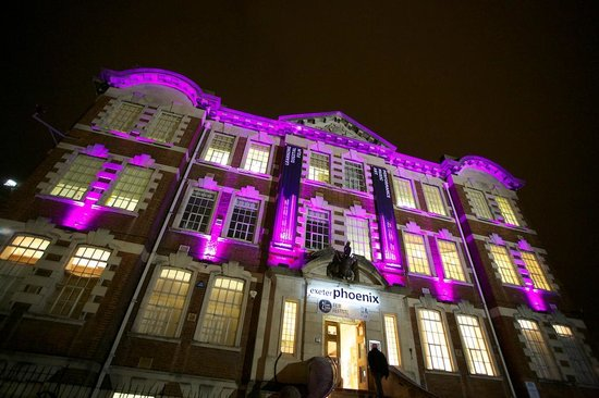 Pink lights on Theatre Facade