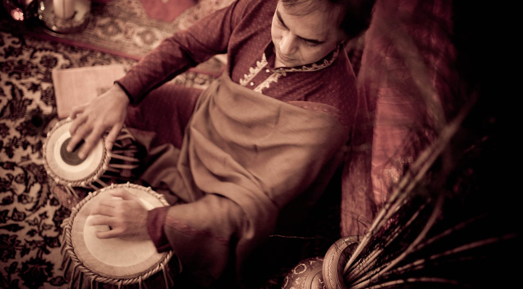 man playing tabla Sanju Sahai