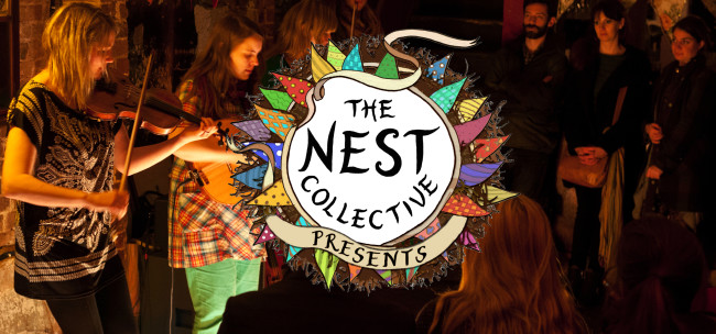 Women playing violin Nest Collective
